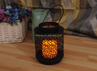 """Varisized Rings-openwork Powder-coated Metal Lantern,Innovative Decorative Cylindric Candle Holder With 3""""X4"""" Resin LED Candle"""