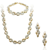 New style Wheat ear gold plated jewelry set with earring and necklace and Bracelet set of bridal jewelry set