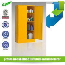 2 door yellow tool storage industrial furniture metal cabinet