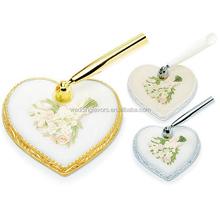 Heart Base Pen with Pastel Bridal Bouquet Design