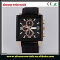 2015 para hombre de cuero la correa trasera de acero inoxidable reloj mecánico de alta calidad de cuero reloj occidental