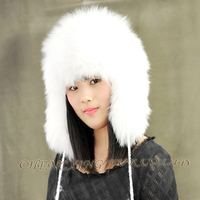 CX-C-49A Genuine Fox Fur Fashion Winter Caps And Hats With Earflap