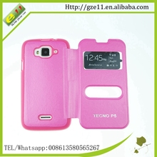 PU leather+PC clear phone case for Tecno P5