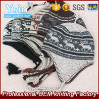 winter knit jacquard crochet hat earflaps with deer patterns