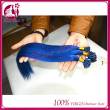 Slight luxury super micro ring/fish hair line full i tip /nail tip pre-bonded hair salon color blue straight