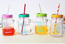 16oz Drinking Glass Mason Jar with lid and straw