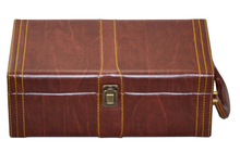 alibaba Customize handmade PU Leather Wooden Wine Packaging Gift Box/Wine Bottle Carrier Case