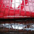 pu brilhante pvc material de couro para fazer bolsas com grande crocodilo gravado