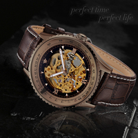 2014 OUYAWEI Business Luxury Skeleton Watch Automatic Visible Movement Mechanical Watch Alibaba Express