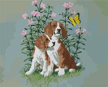 dog and butterfly design oil painting by number 2015 factory hot selling picture GX6770