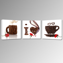 Creative Coffee Cup Canvas Print/Triptych Canvas Art/Rose Flower Wall Picture
