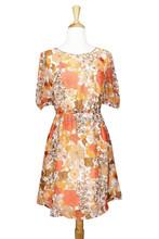 Classic 70's Vintage Style Golden Flora Printed Chiffon Midi Dress 2015 women
