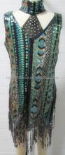 Latine et salle de bal robes pour Preformance robe Tassel Sequin multicolore ordre de mélange