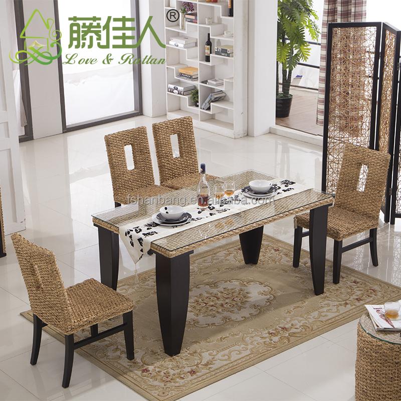 6 asiento ratán mesa de comedor y silla-Sets para Sala Comedor ...