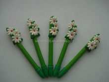 promotional flower shaped polymer clay ballpen
