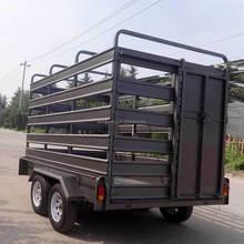 Farm galvanized tandem cattle crate trailer