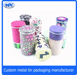 Colorful cylinder tin box for bandage, bandage tin box, pencil holder tin box for band-aid