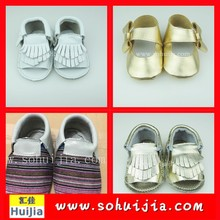 Wholesale high quality can custom OEM cute tassels and bow moccasins cute sandals baby shoes