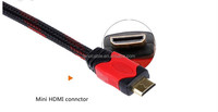 High quality 1.4 vdual mold mini hdmi to mini jack component cable with nylon sleeve