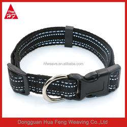 Black reflective safety big dog collar sefaty nylon pet collar