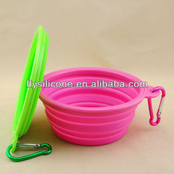 ECO-Friendly/collapsible silicone pet bowl with carabineer