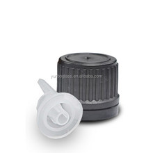 18mm Black Tamper proof plastic screw on cap with dropper insert