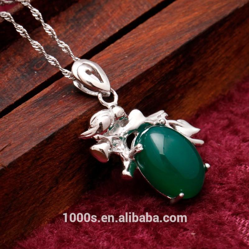 Quente- venda verde calcedônia pingente, novo design pingente atacado, pingente de prata para a festa, dom, engajamento
