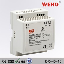 CE RoHS approved 45W 15V DIN Rail high voltage switching power supply DR-45-15