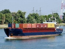 Sea-river cargo vessel 2090 DWT, 80 TEU on 4 m draft