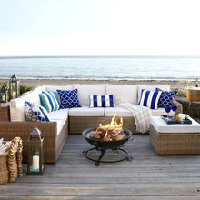 Ocean style high quality PE rattan hand-woven outdoor furniture liquidation