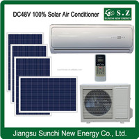 DC48V variable speed hot weather off grid home solar heat air conditioners with solar panels price