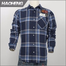 Best selling 10 years experience Cotton big checks with letter dark bule flannel shirt