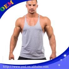 custom mens gym vest Y back stringer blank cotton tank top