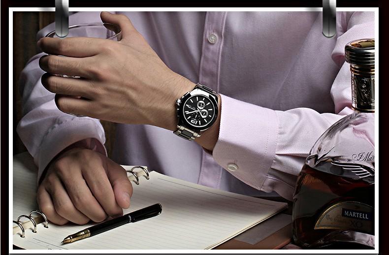 Бингер Низкая Цена Продажи Высокое качество Сапфир Часы Стали Керамическая Белый Циферблат Автоматическая Мужские Часы Мужские Многофункциональные Наручные Часы