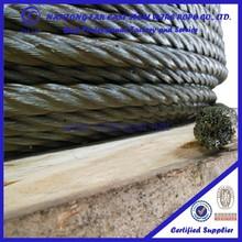 UNGALVANIZED yellow grease 1 inch diameter 6*37+IWRC steel wire rope price