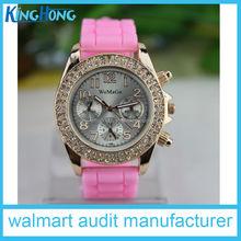 silicone rhinestone quartz lady watch