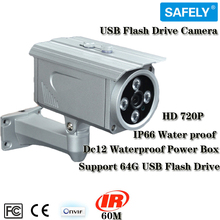 "1/3"" CMOS HD 720P USB Flash Drive Camera IR Distance 60m Lens 4mm Support 64GB Flash Drive with USB2.0 Waterproof IP66"