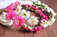 JY3005 PE rose with plastic leaf headband with color silk ribbon ,bridal crown flower headband,festival girls headbands