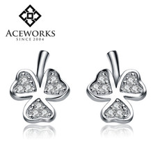 Wholesale sterling silver earrings cheap crystal leaf earrings sterling silver 925