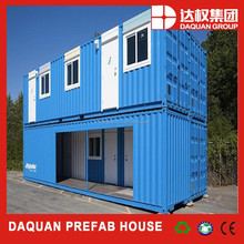 sky blue painted two pcs 20ft container +40ft container stacking container house