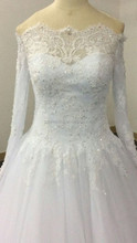 wedding gown off shoulder ball gown long sleeve heavy beading ivory color long train bridal gown GYF-V7-2
