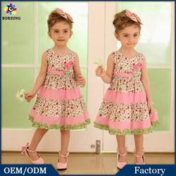 Cute Pink Matching Sleeveless Flower Girls Summer Princess Dresses Children Frocks Designs For Cutting