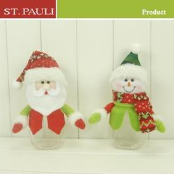 Guangdong factory manufacturer felt 8inch christmas santa and snowman candy container christmas decoration item