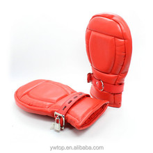 Sex Locking Goth Padded Mittens Gloves Dog Paw Palm Sexy Leather Bondage Restraints Couple Adult Products