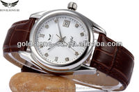 2015 wholesale classic genuine leather band stainless steel quartz watch with japan movt from shenzhen company