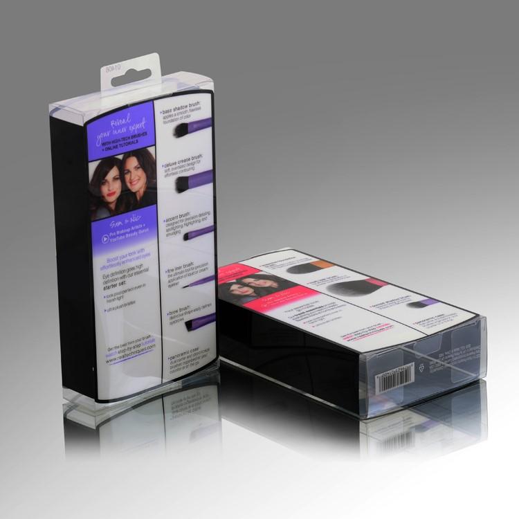 Logotipo personalizado impresso caixa de plástico transparente embalagem caixa de óculos de sol/limpar caixa de plástico dobrável atacado