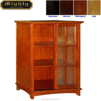 (No Tools Assembly) Wooden Sliding Door DVD Media Storage Cabinet with 3-Shelf