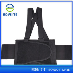 Double pull lumbar back support belt Neoprene back support elastic back and shoulder support belt with pp strips (factory, OEM)