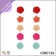 2015 big ceramic young women new design flower fashion earrings jewelry charm colorful rose shape earrings set