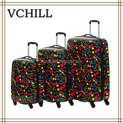 ABS luggage set hard shell trolley colorful printed
